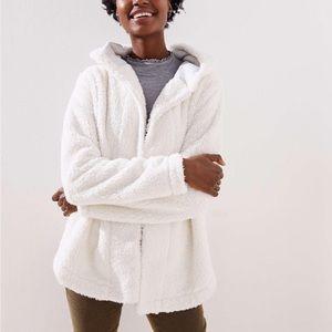 LOFT Faux Sherpa Open hoodie M